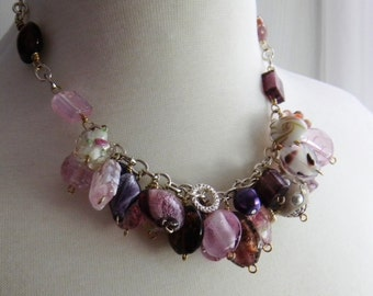 Chunky Necklace, Pink Charm Necklace, Beaded Necklace, Purple Necklace, Silver Necklace, Womens Fashion Jewelry