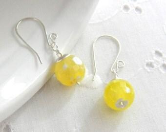 Pale Yellow Gemstone Earrings, Yellow Earrings, Spring Jewelry, Semi Precious earrings, Yellow Agate
