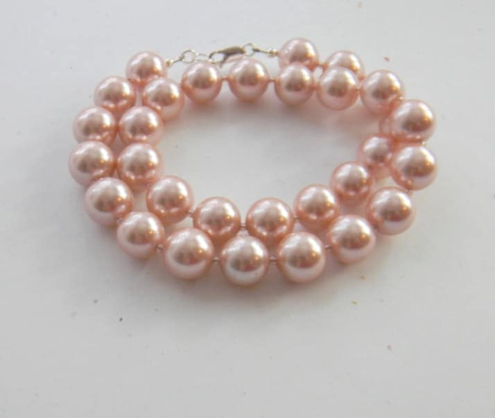 Peach Pearl Necklace: Peach Pearl Necklace Chunky Necklace Statement Necklace