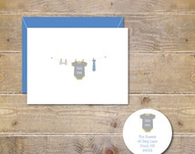 Baby Shower Thank You Cards, Baby Onesie, Baby Thank You Cards, Thank You Cards, Baby Boy Announcement Cards - Baby Boy Clothesline
