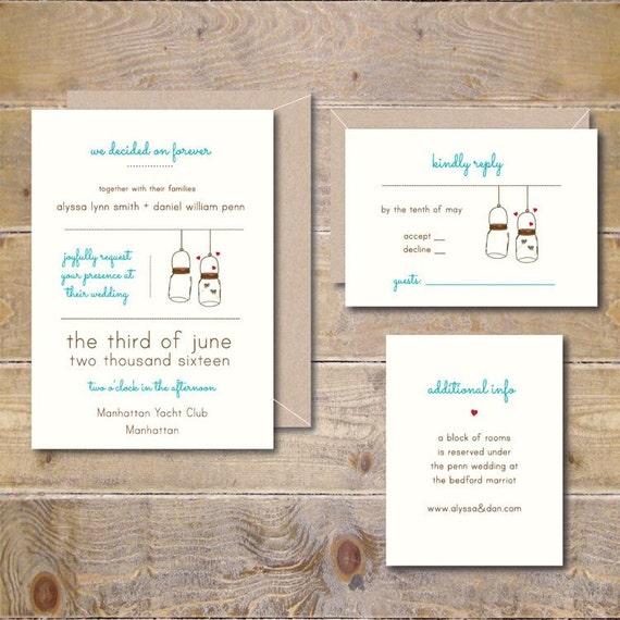 Outdoor Themed Wedding Invitations: Outdoor Weddings Mason Jars Wedding Invitations Wedding