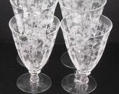 Set of Six Vintage Fostoria Chintz Etching # 338 Water Stems