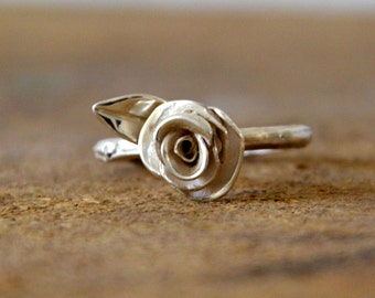 twig engagement ring branch ring sterling silver rose ring -silver branch engagement ring- leaf rose engagement ring branch ring for her