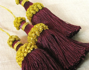 Tassels , Set of 3 pc , Wine , Gold , Drawer Tassel , Key , Package Decoration , Package Ornament , Christmas Decoration , Holiday Decor