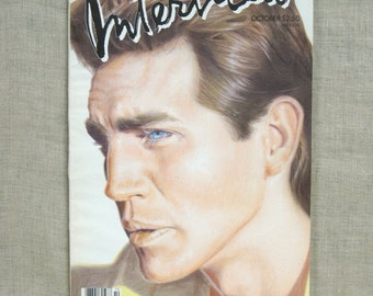Vintage Interview Magazine, October 1986, Eric Roberts, Art and Entertainment, Tabloid, Andy Warhol, Fashion, Actor, Back Issues, Famous