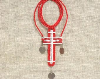 Beaded Cross , Religious , Wall Decor , Pendent , Jewelry , Bead Work , Religion , Religious Jewelry , Handmade , Crucifix , Religious Craft