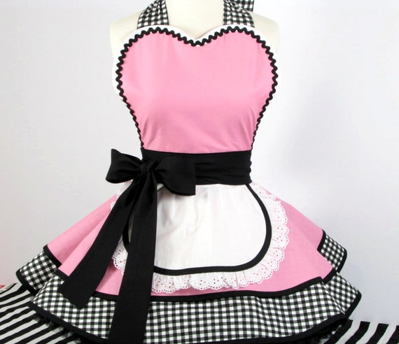Cafe Waitress Apron Flirty Retro Fifties French Maid Apron