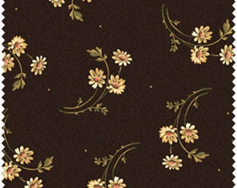 White Daisy Bouquets on Brown 100% Cotton Quilt Fabric Blender for Sale, Maywood Studio 2003-A2, Yardage