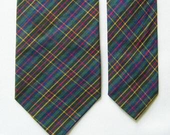 Vintage Micro Plaid Cotton Narrow Necktie - Multi Color - Cravatte, Tie