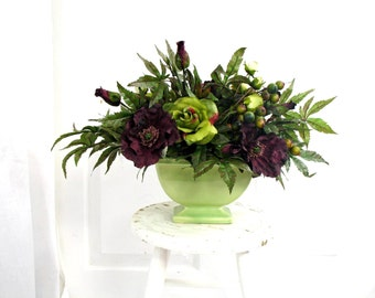 Floral Arrangement * Burgundy and Green * Spring Decor * Shabby Chic * Summer Centerpiece * Roses * Table Centerpiece * EnglishRoseDesignsOh
