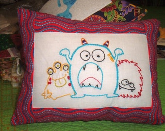 WonderlandShoppe Original Embroidered Embroidery Monster Throw Pillow  Decor