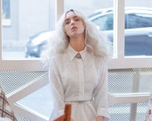 White long sleeve devoré print velvet dress  / Buttoned shirtdress / French chic dress / parisian dress - 50% Off - On sale