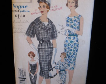 "Vintage Vogue Special Design 60s Wiggle Dress & Belted Jacket Pattern 4103, 32"" Bust,  Original Label"