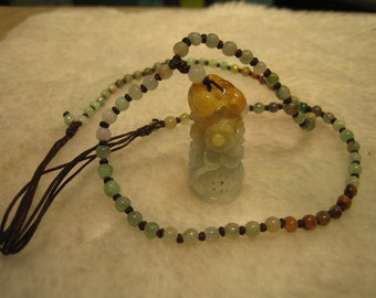 FLOWER  BASKET  . . .  Natural Jade  Necklace / Pendant  . . .  Handknotting Jewelry