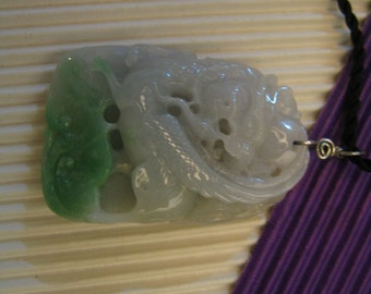 Carved Fortune Dragon Phoenix  .  Natural Jade . 925 silver wire Pendant