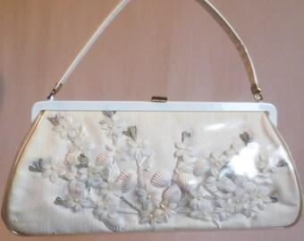 "Vintage 1960's White ""JR"" See-Through Seashell Purse Handbag-Shadowbox Pocketbook"