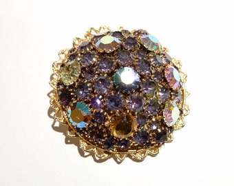 Vintage Designer  Purple Rhinestone Pin High Dome Circular Topaz Blue Orange AB Stones 2.5 Inch Statement Pin c. 1960s