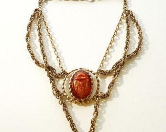 Delizza and Elster Juliana Egyptian Revival Necklace with Lucite Scarab Pendant Gold Chains