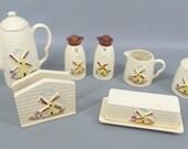 Vintage Mid Century Ceramic Windmill Coffee, Creamer, Sugar, Table Setting Made in Japan