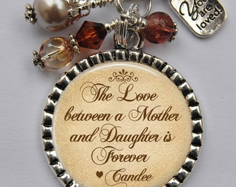 Custom Keychain for Mom, Mother of the Bride Gift, Love Between a Mother and Daughter, Mother's Day Gift, Personalized Gift for Mom
