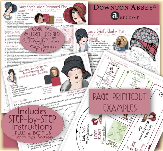 1920s Patterns – Vintage, Reproduction Sewing Patterns DOWNTON Abbey HAT Pattern 1920 Pdf Booklet Andover Pdf 2014-15 Ed. - Vintage 1920s Flapper Cloche Turban Brim Sew Make $9.99 AT vintagedancer.com