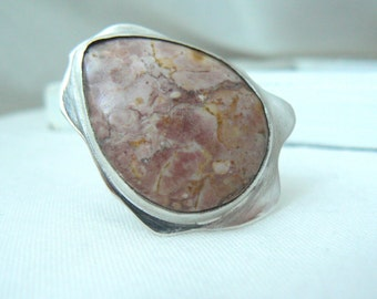 Sterling silver and Jasper Ooak Ring - jewelry cabochon gemstone 925 - Size 7.5 - READY TO SHIP