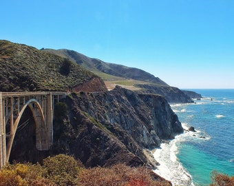 Fine Art photography, Bixby Bridge, PCH, Pacific Coast Highway, California, vintage look, 8x12
