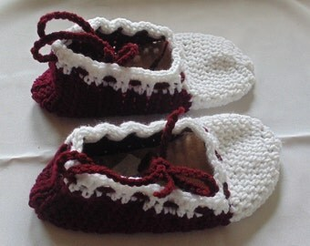 Burgundy and White Crochet Slippers, Woman's Slippers, Ladies Slippers, Size 7