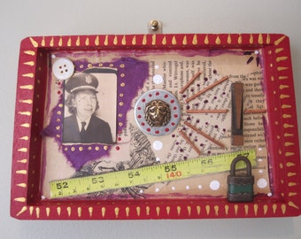 Mixed media assemblage, found object, upcycled frankenjunk art