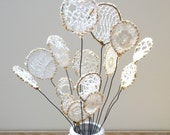Lace flower.  Doily art.  White lace, Black wire. Mustard embroidery.  Black and white bouquet.  Modern round flowers.  Shabby.  Chic decor.