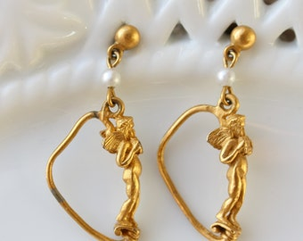 Vintage Gold Plated Cherub Post Earrings with Faux Pearls