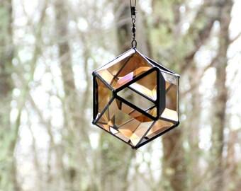 Bronze 3D orb suncatcher, stained glass bevel suncatcher, modern geometric window decor, spinner suncatcher sphere, ready to ship