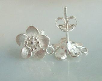 Cherry Blossom Flower Ear Post, 925 Sterling Silver Lovely Sakura Flower Ear Post, Ear Nuts included, 10x12mm - EP-0009