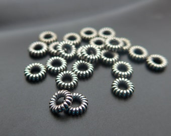 Oxidized 925 Sterling Silver Beautiful Coiled Spacer,So Pretty, Save, Bulk 20 pcs, 1.5x5 mm - A