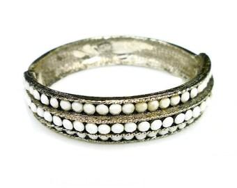 Weiss Bracelet, Bangle Bracelet, Rhinestone Bracelet, White Milk Glass, Hinged Clamper, Gold Tone, Stacking Bracelet, Vintage Jewelry