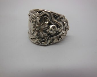Antique Spoon Ring  size 7 and three fourths  Sterling Silver