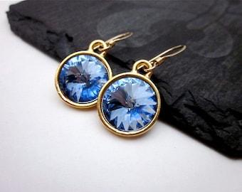 Blue Purple Drops -- Periwinkle Earrings -- Light Sapphire Earrings -- Periwinkle Drop Earrings -- Light Sapphire Swarovski Earrings