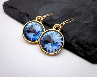 Light Sapphire Swarovski Crystal Earrings -- Gold & Periwinkle Earrings -- Periwinkle Drop Earrings -- Light Sapphire Earrings