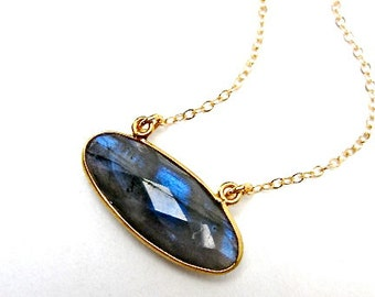 Labradorite Gemstone Pendant -- Horizontal Pendant --  Grey Gemstone Necklace -- Labradorite Jewelry with gold chain