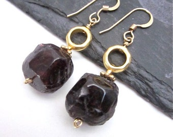Garnet Gemstone Earrings -- Gold and Dark Red Earrings -- Dark Red Garnet Jewelry -- Garnet Dangle Earrings -- Gift Box Included