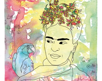 Frida Kahlo print, Frida Kahlo illustration, Frida Kahlo art, Frida Kahlo poster