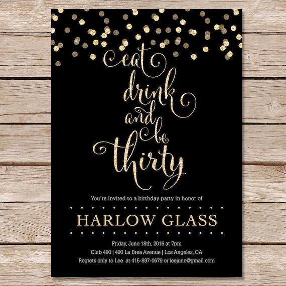 30th birthday invitation / glitter invitation / printable