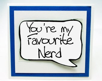 Nerdy Love You Card. Funny Little Magent Card. Nerdy Guy Card. fun Card MN238