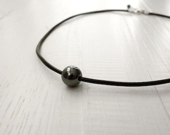 Leather necklace hematite stone necklace black choker minimalist necklace for men for women made to order