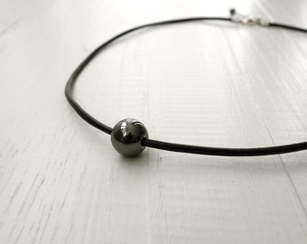 Leather necklace hematite stone grey black minimalist rocker made to order