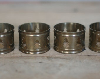 vintage brass napkin rings with pine tree cutouts set of four
