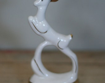 vintage art deco deer ceramic figurine antique white and gold