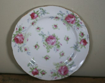 vintage lefton hand painted rose luncheon plate with scalloped edge