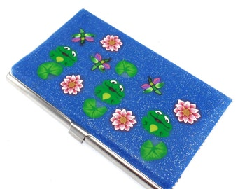 Colorful Polymer Clay Business Card  Case, Frog Design
