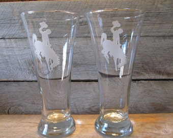 Wyoming Cowboys Pair of Etched Tall Flare Pilsner